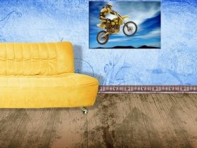 Canvas Wall Art Motocross, Glowing in the dark, 80 x 120 cm