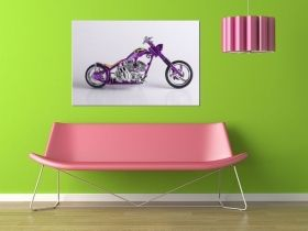 Canvas Wall Art American Chopper, Glowing in the dark, 60 x 90 cm