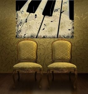 Canvas Wall Art Vintage piano, Glowing in the dark, 80 x 120 cm