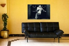 Canvas Wall Art Woman and piano, Glowing in the dark, 60 x 90 cm