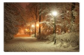 Canvas Wall Art Winter in the park, Glowing in the dark, 80 x 120 cm