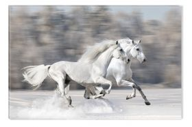 Canvas Wall Art Two white horses, Glowing in the dark, 60 x 90 cm