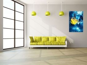 Canvas Wall Art Lemon in the water, Glowing in the dark, 60 x 90 cm