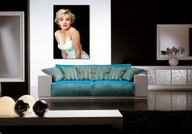 Canvas Wall Art Marilyn Monroe - The Most Beautiful Woman in the World, Glowing in the dark, 80 x 120 cm