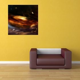 Canvas Wall Art Nebula Galaxy ll, Glowing in the dark, 80 x 80 cm