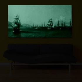 Canvas Wall Art Aivazovschy - Fleet in the Black Sea, 1893, Glowing in the dark, 60 x 120 cm