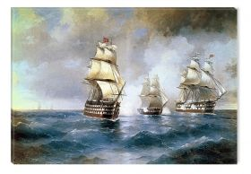 Canvas Wall Art Aivazovschy - Brig Mercury Attacked By Two Turkish Ships 1894, Glowing in the dark, 80 x 120 cm