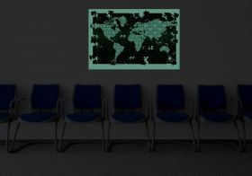Canvas Wall Art Puzzle World Map, Glowing in the dark, 60 x 90 cm