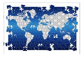 Canvas Wall Art Puzzle World Map, Glowing in the dark, 80 x 120 cm