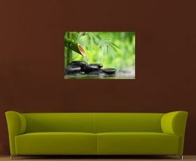 Canvas Wall Art Bamboo Zen, Glowing in the dark, 60 x 90 cm