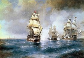 Mural Wall Art Boats, Aivazovsky, Glowing in the dark, 3.66 x 2.56 m