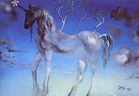 Fototapet Unicorn, Salvador Dali, luminos in intuneric, 1.83 x 1.28 m