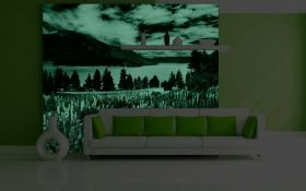 Mural Wall Art Flower carpet to the lake, Glowing in the dark, 3.66 x 2.56 m