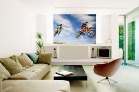 Mural Wall Art Motocross jump, Glowing in the dark, 1.83 x 1.28 m