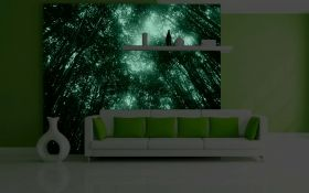 Mural Wall Art Green lights, Glowing in the dark, 3.66 x 2.56 m