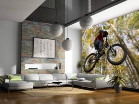 Mural Wall Art Bike jump, Glowing in the dark, 3.66 x 2.56 m