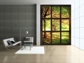 Mural Wall Art Window to a sunny morning, Glowing in the dark, 1.83 x 1.28 m