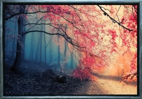Luxury Framed Wall Art Red leaves, Glowing in the dark, 70 x 100 cm