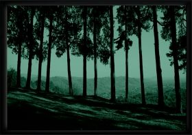Luxury Framed Wall Art Landscape in Tuscany, Glowing in the dark, 70 x 100 cm