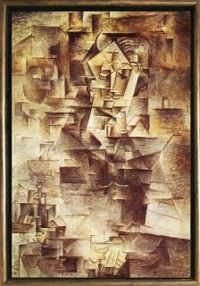 Luxury Framed Wall Art Portrait of Daniel Henry Kahnweiler, Picasso, reproduction, Glowing in the dark, 70 x 100 cm