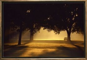 Luxury Framed Wall Art Morning Trees, Glowing in the dark, 50 x 70 cm