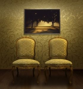 Luxury Framed Wall Art Morning Trees, Glowing in the dark, 70 x 100 cm
