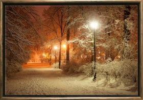 Luxury Framed Wall Art Winter in the park, Glowing in the dark, 50 x 70 cm