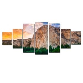 Canvas Wall Art The Rock, Glowing in the dark, Set of 7, 100 x 240 cm (1 panel 40 x 100 cm, 2 panels 35 x 90 cm, 2 panels 30 x 60 cm, 2 panels 30 x 40 cm)
