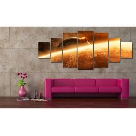 Canvas Wall Art Satellite, Glowing in the dark, Set of 7, 100 x 240 cm (1 panel 40 x 100 cm, 2 panels 35 x 90 cm, 2 panels 30 x 60 cm, 2 panels 30 x 40 cm)