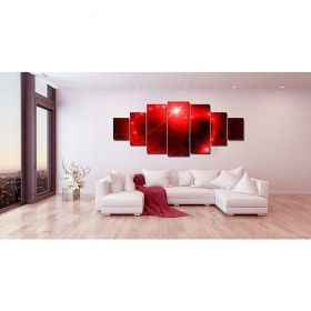 Canvas Wall Art Red universe, Glowing in the dark, Set of 7, 100 x 240 cm (1 panel 40 x 100 cm, 2 panels 35 x 90 cm, 2 panels 30 x 60 cm, 2 panels 30 x 40 cm)