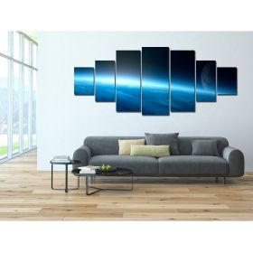 Canvas Wall Art The blue universe, Glowing in the dark, Set of 7, 100 x 240 cm (1 panel 40 x 100 cm, 2 panels 35 x 90 cm, 2 panels 30 x 60 cm, 2 panels 30 x 40 cm)