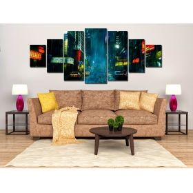 Canvas Wall Art The city in the rain, Glowing in the dark, Set of 7, 100 x 240 cm (1 panel 40 x 100 cm, 2 panels 35 x 90 cm, 2 panels 30 x 60 cm, 2 panels 30 x 40 cm)