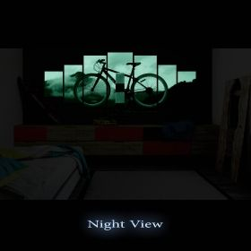 Canvas Wall Art Bicycle, Glowing in the dark, Set of 7, 100 x 240 cm (1 panel 40 x 100 cm, 2 panels 35 x 90 cm, 2 panels 30 x 60 cm, 2 panels 30 x 40 cm)