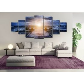 Canvas Wall Art The light on the end, Glowing in the dark, Set of 7, 100 x 240 cm (1 panel 40 x 100 cm, 2 panels 35 x 90 cm, 2 panels 30 x 60 cm, 2 panels 30 x 40 cm)