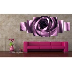 Canvas Wall Art Purple Rose, Glowing in the dark, Set of 7, 100 x 240 cm (1 panel 40 x 100 cm, 2 panels 35 x 90 cm, 2 panels 30 x 60 cm, 2 panels 30 x 40 cm)
