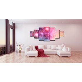 Canvas Wall Art Multicolor Galaxy, Glowing in the dark, Set of 7, 100 x 240 cm (1 panel 40 x 100 cm, 2 panels 35 x 90 cm, 2 panels 30 x 60 cm, 2 panels 30 x 40 cm)