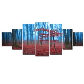Canvas Wall Art The mysterious forest, Glowing in the dark, Set of 7, 100 x 240 cm (1 panel 40 x 100 cm, 2 panels 35 x 90 cm, 2 panels 30 x 60 cm, 2 panels 30 x 40 cm)