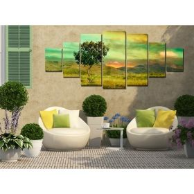 Canvas Wall Art Lonely tree, Glowing in the dark, Set of 7, 100 x 240 cm (1 panel 40 x 100 cm, 2 panels 35 x 90 cm, 2 panels 30 x 60 cm, 2 panels 30 x 40 cm)