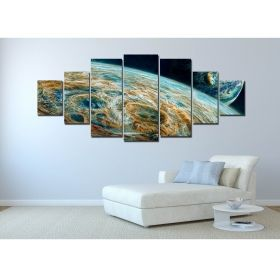 Canvas Wall Art The colorful planet, Glowing in the dark, Set of 7, 100 x 240 cm (1 panel 40 x 100 cm, 2 panels 35 x 90 cm, 2 panels 30 x 60 cm, 2 panels 30 x 40 cm)