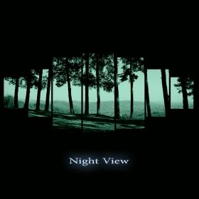 Canvas Wall Art Among the trees, Glowing in the dark, Set of 7, 100 x 240 cm (1 panel 40 x 100 cm, 2 panels 35 x 90 cm, 2 panels 30 x 60 cm, 2 panels 30 x 40 cm)