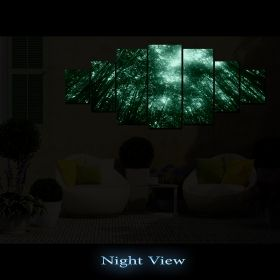 Canvas Wall Art The top of the trees, Glowing in the dark, Set of 7, 100 x 240 cm (1 panel 40 x 100 cm, 2 panels 35 x 90 cm, 2 panels 30 x 60 cm, 2 panels 30 x 40 cm)