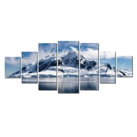 Canvas Wall Art Antarctic, Glowing in the dark, Set of 7, 100 x 240 cm (1 panel 40 x 100 cm, 2 panels 35 x 90 cm, 2 panels 30 x 60 cm, 2 panels 30 x 40 cm)