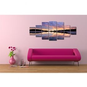 Canvas Wall Art Sunset over the water, Glowing in the dark, Set of 7, 100 x 240 cm (1 panel 40 x 100 cm, 2 panels 35 x 90 cm, 2 panels 30 x 60 cm, 2 panels 30 x 40 cm)