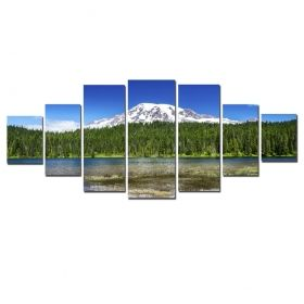 Canvas Wall Art Spring in the mountains, Glowing in the dark, Set of 7, 100 x 240 cm (1 panel 40 x 100 cm, 2 panels 35 x 90 cm, 2 panels 30 x 60 cm, 2 panels 30 x 40 cm)