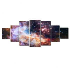 Canvas Wall Art Galaxy, Glowing in the dark, Set of 7, 100 x 240 cm (1 panel 40 x 100 cm, 2 panels 35 x 90 cm, 2 panels 30 x 60 cm, 2 panels 30 x 40 cm)