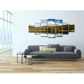 Canvas Wall Art Mountain landscape, Glowing in the dark, Set of 7, 100 x 240 cm (1 panel 40 x 100 cm, 2 panels 35 x 90 cm, 2 panels 30 x 60 cm, 2 panels 30 x 40 cm)