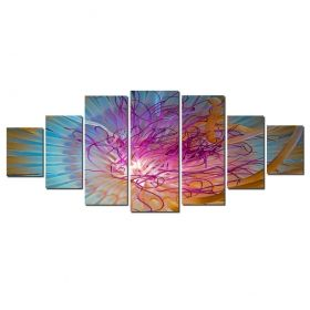 Canvas Wall Art Exploration, Glowing in the dark, Set of 7, 100 x 240 cm (1 panel 40 x 100 cm, 2 panels 35 x 90 cm, 2 panels 30 x 60 cm, 2 panels 30 x 40 cm)