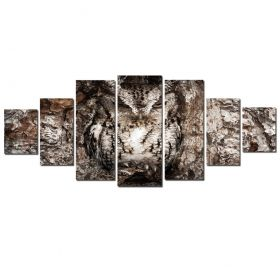 Canvas Wall Art Owl, Glowing in the dark, Set of 7, 100 x 240 cm (1 panel 40 x 100 cm, 2 panels 35 x 90 cm, 2 panels 30 x 60 cm, 2 panels 30 x 40 cm)
