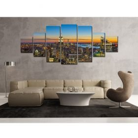 Canvas Wall Art Sunset in the city, Glowing in the dark, Set of 7, 100 x 240 cm (1 panel 40 x 100 cm, 2 panels 35 x 90 cm, 2 panels 30 x 60 cm, 2 panels 30 x 40 cm)