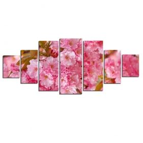 Canvas Wall Art Pink flowers, Glowing in the dark, Set of 7, 100 x 240 cm (1 panel 40 x 100 cm, 2 panels 35 x 90 cm, 2 panels 30 x 60 cm, 2 panels 30 x 40 cm)